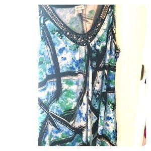 Blue green sleeveless top size 22/24 silk tops